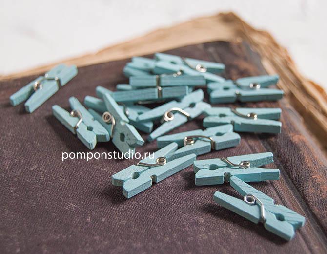 Прищепки деревянные мятные 2,5 см, 16 шт