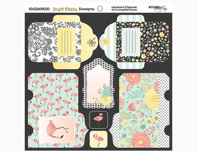 Лист двусторонней бумаги 20х20 Конверты Simple Flowers от Scrapmir