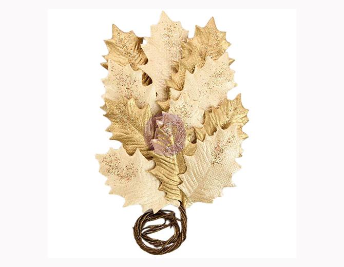 Листья бумажные Glittered Leaf Stems-Gilden Night от Prima Marketing