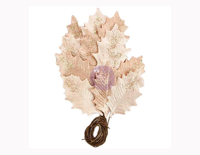 Листья бумажные Glittered Leaf Stems-Touch Of Rose от Prima Marketing