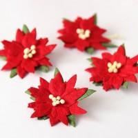 Цветы бумажные Пуансеттия 4 см, 4 шт