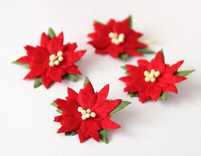 Цветы бумажные Пуансеттия 2,7 см, 4 шт