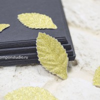 Бумажные листья с глиттером (золото) 8 шт.