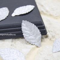 Бумажные листья с глиттером (серебро) 8 шт.