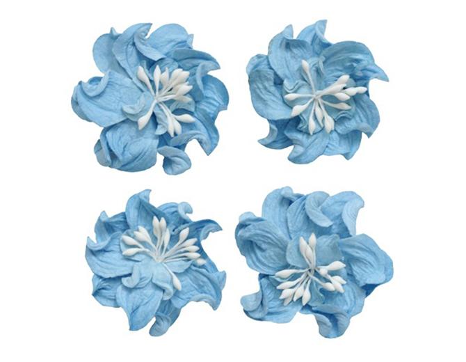 Цветы кудрявой фиалки, набор 4 шт. небесно-голубые