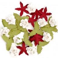 Цветы бумажные для скрапбукинга 30шт. новогодние