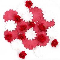 Цветы бумажные для скрапбукинга 30шт. бело-красные