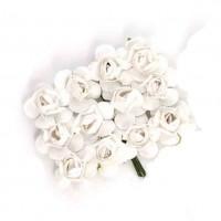 Цветы бумажные для скрапбукинга 12шт. белые
