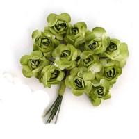 Цветы бумажные для скрапбукинга 12шт. зеленые