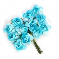 Цветы бумажные для скрапбукинга 12шт. бело-голубые