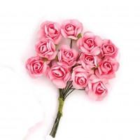Цветы бумажные для скрапбукинга 12шт. персиковые