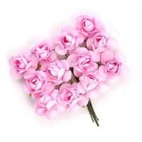 Цветы бумажные для скрапбукинга 12шт. розовые