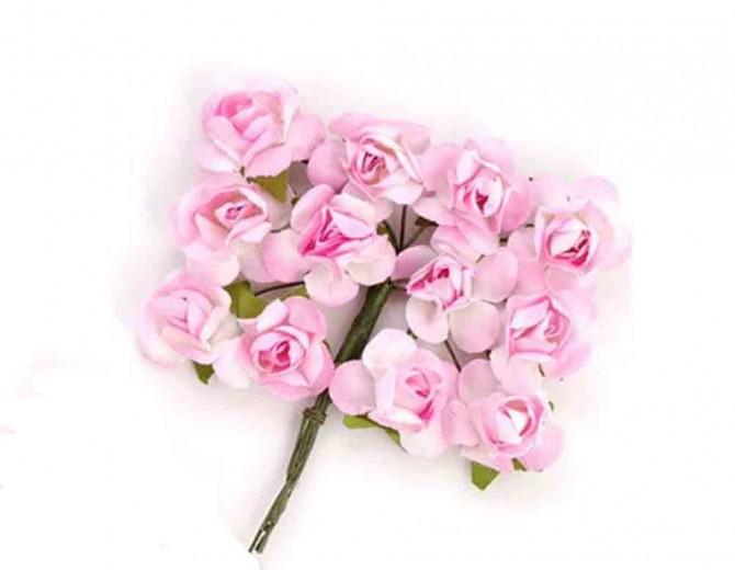Цветы бумажные для скрапбукинга 12шт. бледно-розовые
