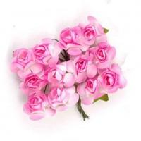 Цветы бумажные для скрапбукинга 12шт. бело-розовые