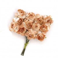 Цветы бумажные для скрапбукинга 12шт. кофейные