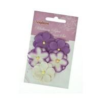 Анютины глазки, набор двойных цветочков 5 штук, фиолетовый