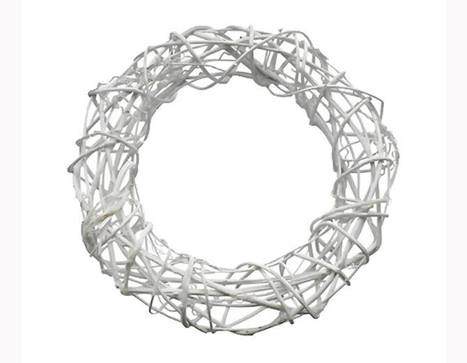 Венок декоративный круглый, крупное плетение, ротанг, белый 30 см