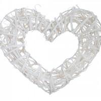 Венок-сердце декоративный, крупное плетение, ротанг, белый 32х29 см