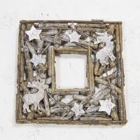 Венок-рама декоративный с оленями и глиттером