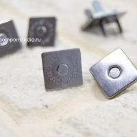 Кнопка магнитная 14 мм квадратная (черный никель)