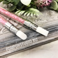 Кисть силиконовая для клея (розовая) двустороняя