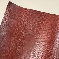 Кожзам переплетный глянцевый коричневый с тиснением под ящерицу