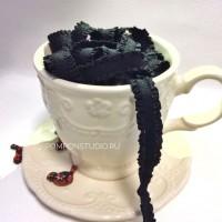 Резинка декоративная с рюшами (черная)