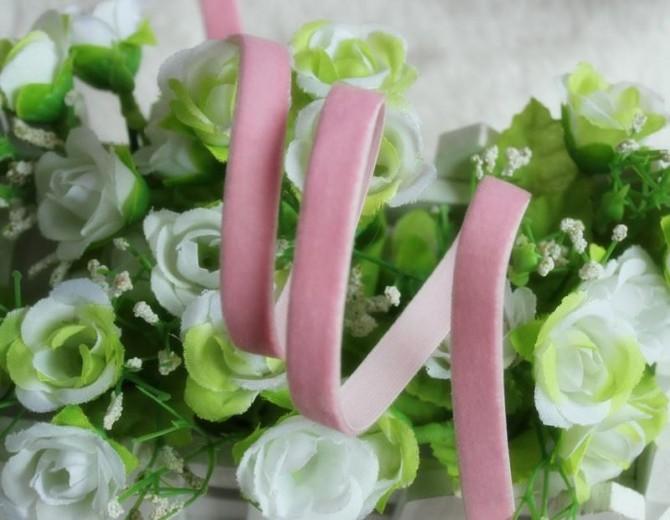 Резинка бархатная (розовая) 10 мм