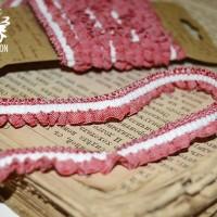 Резинка-рюшь для альбомов и блокнотов (красный/белый) 2 м