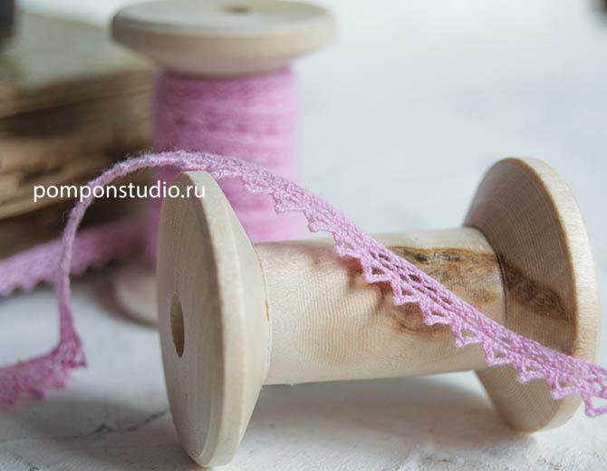 Кружево хлопковое 8 мм розовое