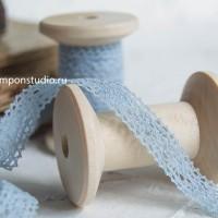 Кружево хлопковое 12 мм голубое