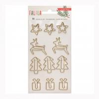 Набор скрепок Fa La La Paper Clips 11шт Gold Wire Shapes от Crate Paper