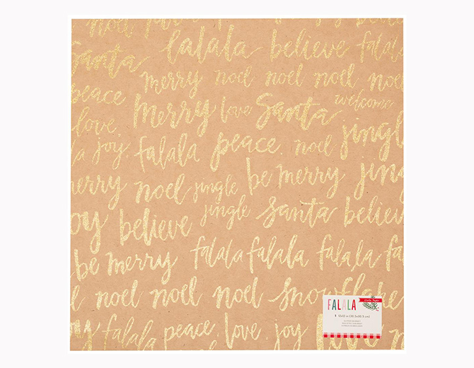 "Кардсток Fa La La Glittered Cardstock Kraft W/Gold Words 12""X12"" от  Crate Paper"