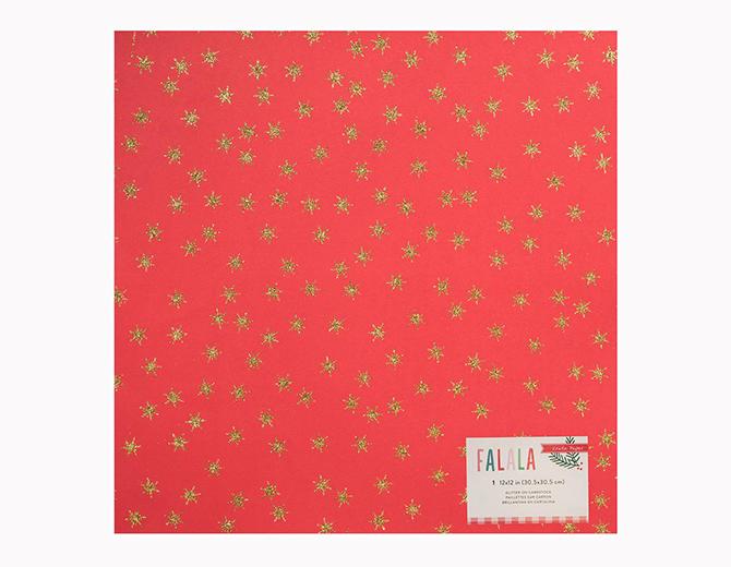 """Кардсток Fa La La Glittered Cardstock Red W/Gold Stars 12""""X12"""" от  Crate Paper"""