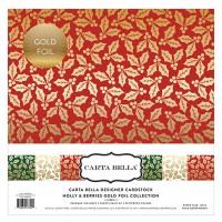 Набор бумаги Holly & Berries с золотым фольгированием 30х30 от Carta Bella