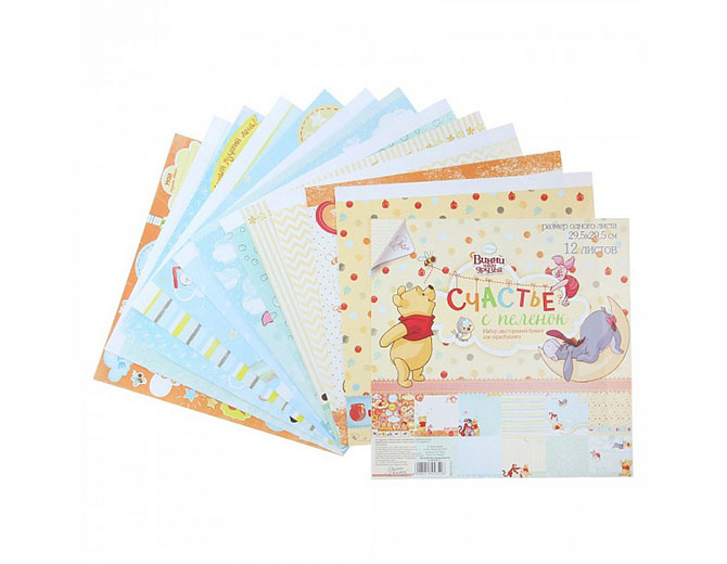 """Набор бумаги для скрапбукинга """"Счастье с пеленок"""":  Медвежонок Винни 29,5х29,5см"""