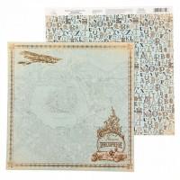 """Бумага для скрапбукинга  Карта странствий """"Приключение"""" 29,5х29,5 см"""