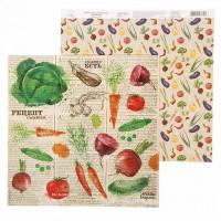 "Бумага для скрапбукинга Рецепты счастья ""Овощи"" 29,5х29,5 см"