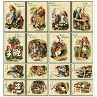 """Лист с карточками для скрапбукинга """"Алиса в стране чудес"""""""