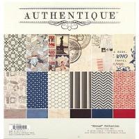 """Набор бумаги Authentique """"Abroad"""" 30х30см 12 листов 2 листа стикеров"""