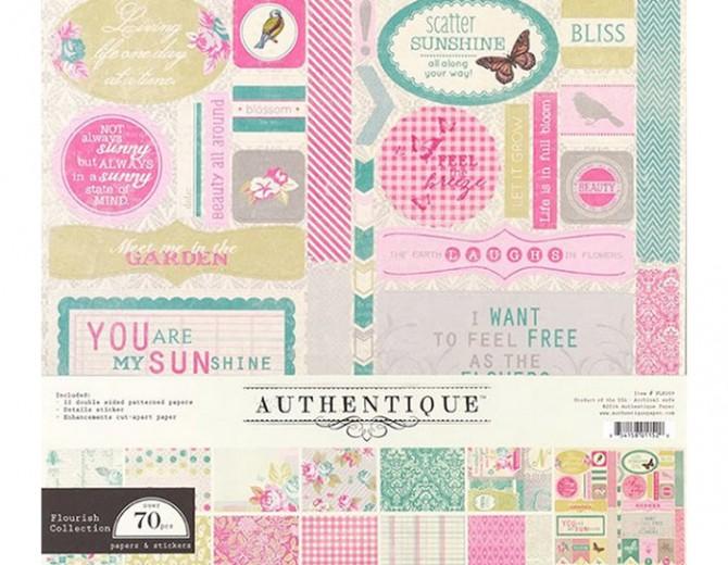 """Набор бумаги Authentique """"Flourish"""" 30х30см"""
