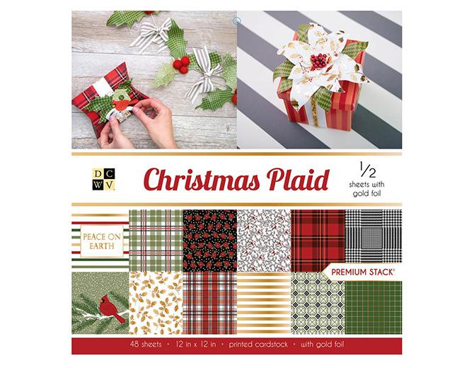 1/2 набора бумаги Christmas Plaid с фольгированием от DCWV