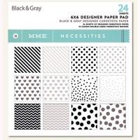 "Набор бумаги MME ""Black & Gray"" 15x15см 24листа"