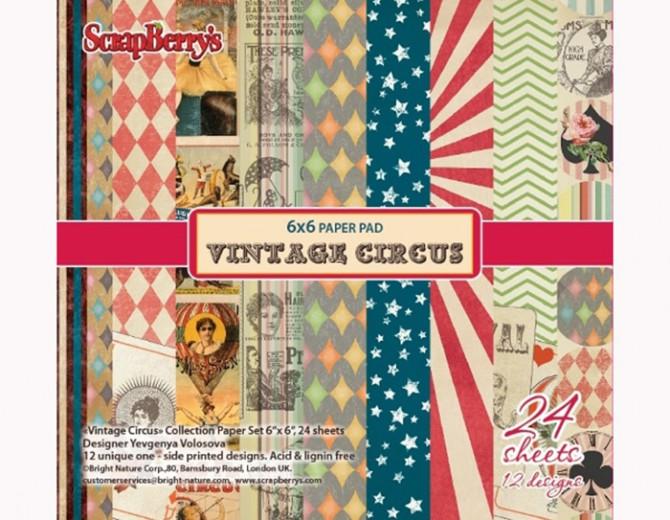 """Набор бумаги для скрапбукинга """"Старый цирк"""" 15х15см"""