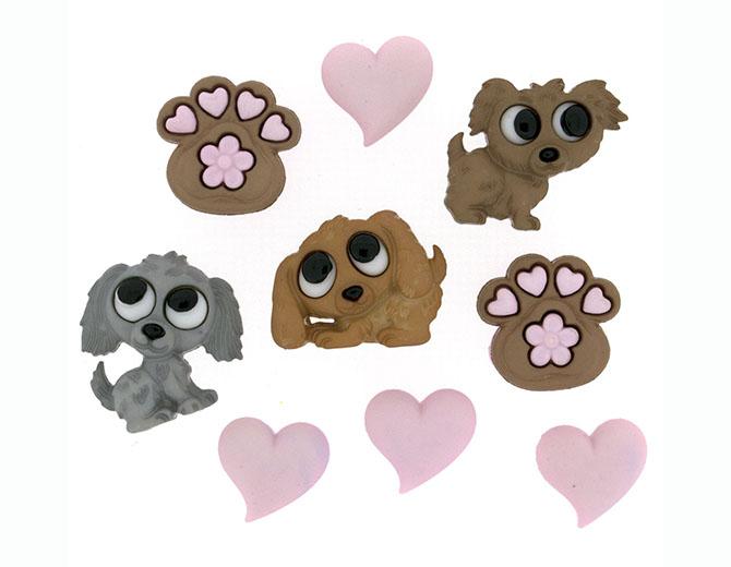 Набор декоративных пуговиц Любовь к щенкам