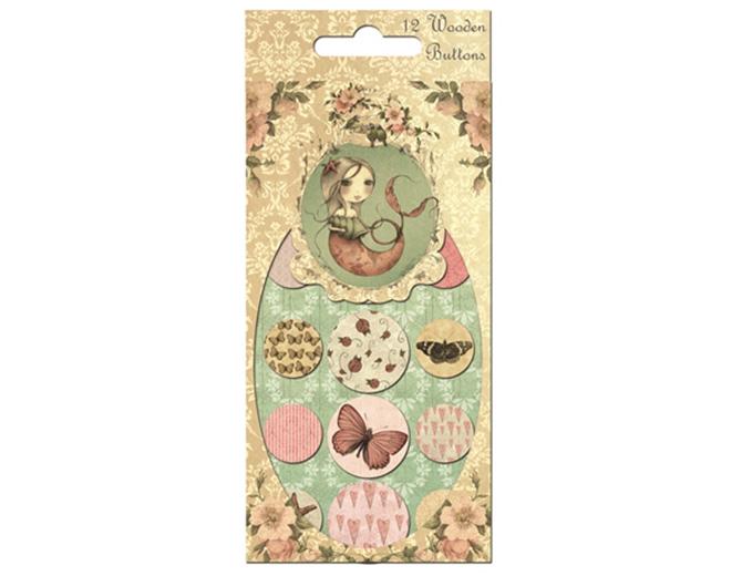 Набор деревянных пуговичек МИРАБЕЛЬ розовый 12шт