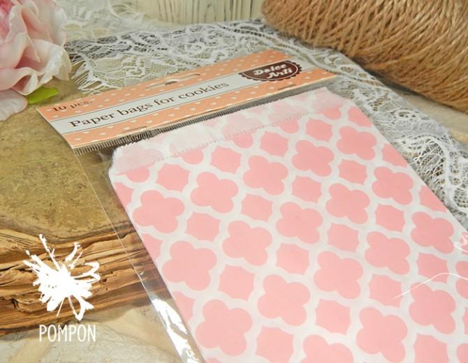 Бумажные пакеты Арабески розовые