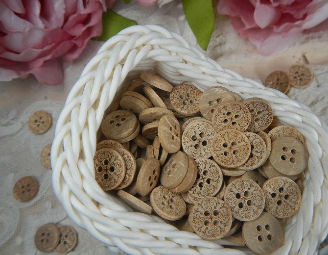 Пуговицы кокосовые с орнаментом 5 шт.