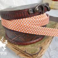 Лента эластичная с принтом (оранжевая в горох)