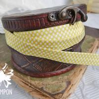 Лента эластичная с принтом (желтая в горох)